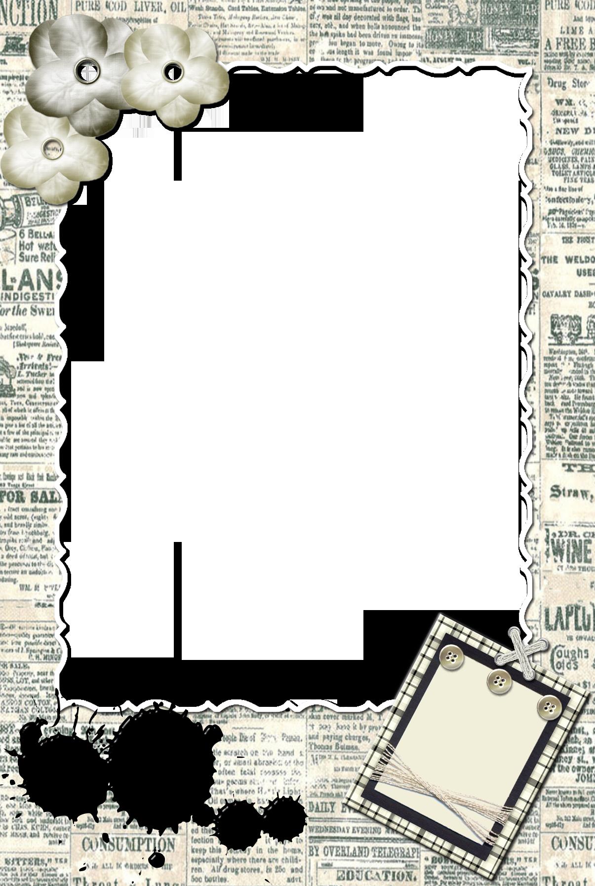 Рамка - Газетные заметки Формат - PNG Количество файлов - 1 Размеры - 1200x1800 px Вес...